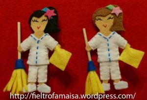 muñeca limpiadora de fieltro